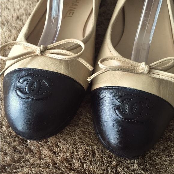Chanel 39 / 9 Ballet Flats Shoes CC cap leather